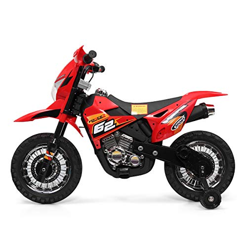 Kids Ride On Motorcycle with Auxiliary Wheel Dirt Bike 6V Battery Powered Electric Toy Red