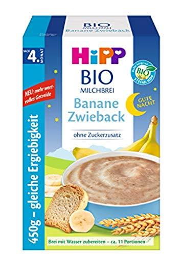Hipp Bio-Milchbreie ohne Zuckerzusatz-Vorratspackung, nach dem 4. Monat, Gute-Nacht-Brei Banane Zwieback, 4er Pack (4 x 450 g)