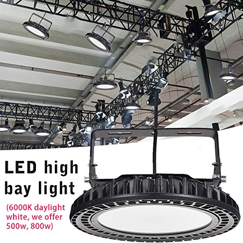 500W UFO LED High Bay Light lamp Factory Warehouse Industrial Lighting IP65 Warehouse LED Lights- High Bay LED Lights- Commercial Bay Lighting for Garage Factory Workshop Gym (500) (10 pcs) 6