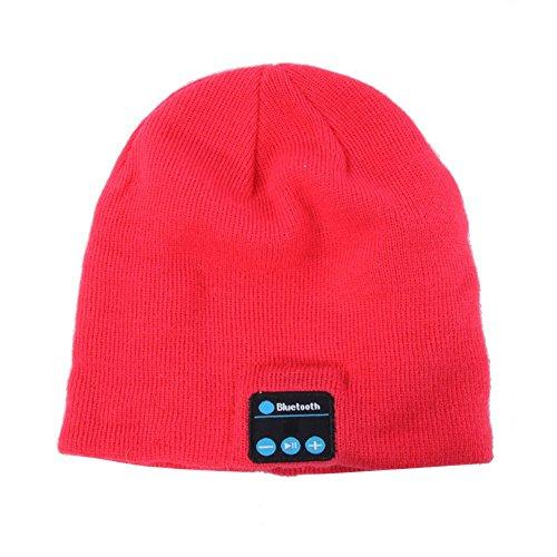 Demiawaking Winter Warme Bluetooth Musik Mütze Hut mit Wireless Kopfhörer Freisprech Lautsprecher (Rose Rot)