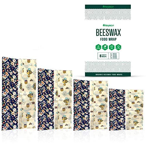 Beeswax Wraps | Set of 8 | Eco Friendly Sustainable Reusable Food Wraps | Biodegradable Zero Waste Plastic Free Food Storage | Bowl Covers | Organic Bees Wax Cheese Bread Sandwich Wrappers