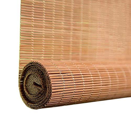 Jcnfa-rolgordijn met houten rolgordijn in Japanse stijl - verduisterende bamboe jaloezieën voor de deur van het hotel, 90cm/100cm/ 120cm/ 150cm breed - gecarboniseerde dikke draad