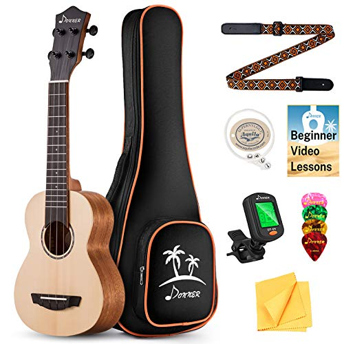 Donner Soprano Ukulele Solid Top Spruce 21 inch Ukelele Starter Bundle Kit with FREE ONLINE LESSON Gig Bag Strap Nylon String Tuner Picks Cloth DUC-410 Professional Ukele Ukalalee