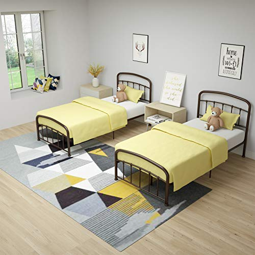 mecor Modern Metallbett Bettgestell mit geschwungenes Kopfteil Einzelbett 90 x 200 cm Bettrahmen mit Lattenrost für Gästezimmer Schlafzimmer Bett In Braun