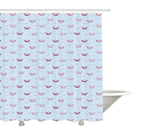 Yeuss Cortina de Ducha Ship, Barcos de Papel en Colores Rosa y púrpura flotando en el Agua Azul Estilo de Dibujos Animados de Origami, Juego de decoración de Tela con Ganchos