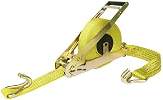 QUICKLOADER QL10000WIRE 27-Feet by 2-Inch Retractable Tie-down Strap, 10000-Pound Breakforce with Wire Hooks, Yellow