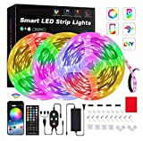 Homestarry 50ft/15M LED Strip Lights LED Luminaires with Bluetooth Controller Apply for Decorative Purposes Lighted Party-Themed Decorations, Electric Light Decorative Strings
