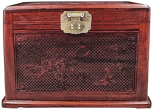 Caja de Joyero Madera, Manualidades Almacenaje de Caja de joyería de la Vendimia de Madera, Maleta de Almacenamiento de Maquillaje Multicapa en Estilo Chino para Mujeres con Espejo,Laca Joyería Pinta
