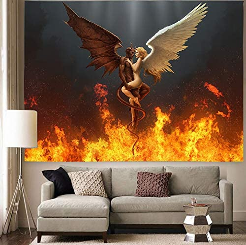 Ranking TOP12 Simsant Angel Devil Spasm price Satan in Fire Hanging Blanket Wall Tapestry