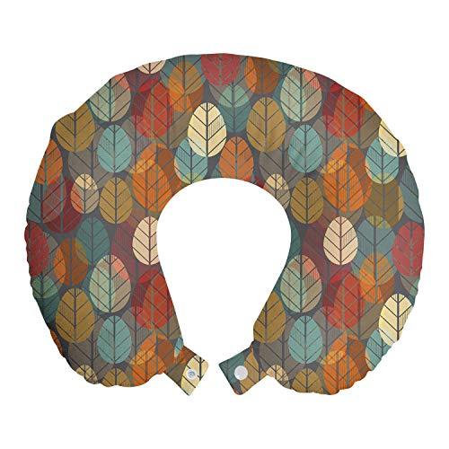 ABAKUHAUS Otoño Cojín de Viaje para Soporte de Cuello, Composición Creativa Naturaleza, de Espuma con Memoria y Funda Estampada, 30x30 cm, Multicolor