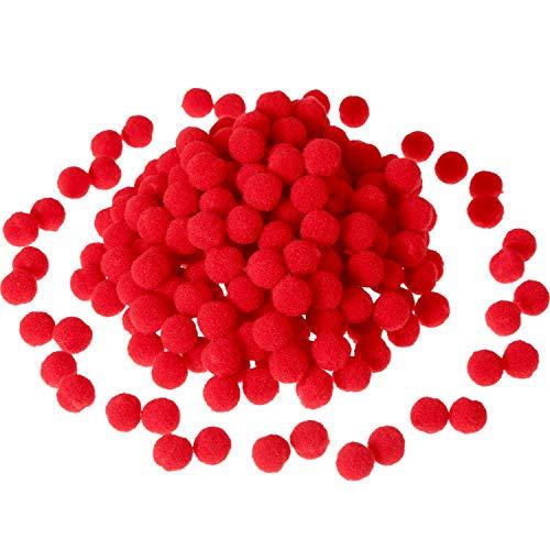Sumind 250 Pezzi Mini Pompon Piccolo Lanuginoso Pom PON per Decorazione Arte Craft Fai da Te, Rosso (12 mm)