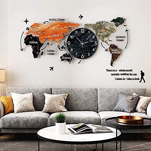 Mapa del Mundo 3D Mapa de la Pared de acrílico Reloj de Pared Moderno Grande Monitor de la Sala de Estar de la Sala de Estar Sofá de Fondo de la Pared Decoración del hogar 120 x 55 cm Amazing