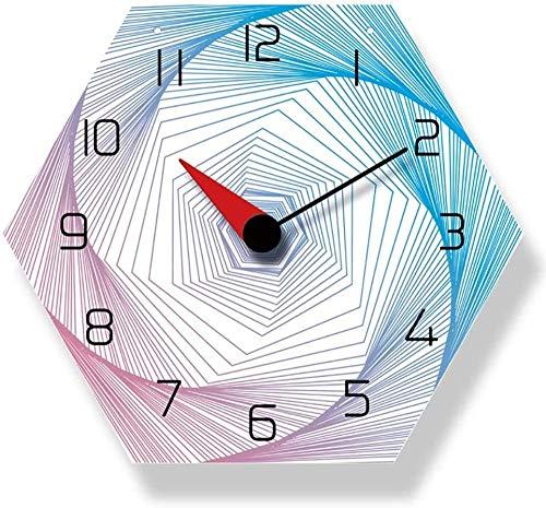 Reloj de Pared Diseño Moderno Decoración de la habitación de los niños Línea Colorida Caja Fuerte silenciosa Reloj de Pared Grande Decoración Sala de Estar Reloj Lindo 30X30Cm