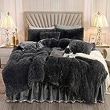 XIYU Luxury Plush Shaggy Duvet Cover Set Ultra Soft Crystal Velvet Bedding Sets 3 Pieces(1 Faux Fur Duvet Cover + 2 Faux Fur Pillowcase) (King, Dark Gray)