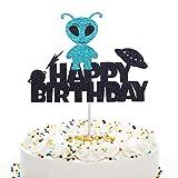 Anxdh cute alien silhouette cake topper, alien cake decoration