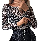Bodies de Leopardo Fiesta para Mujer, Bodys Sexy de Malla Camiseta Tops Manga Larga bodis Mujeres Body Vestir Bodi Blusa Mono Negro M