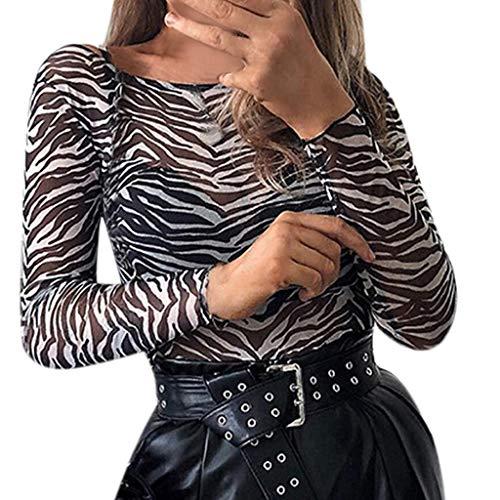 Bodies de Leopardo Fiesta para Mujer, Bodys Sexy de Malla Camiseta Tops...
