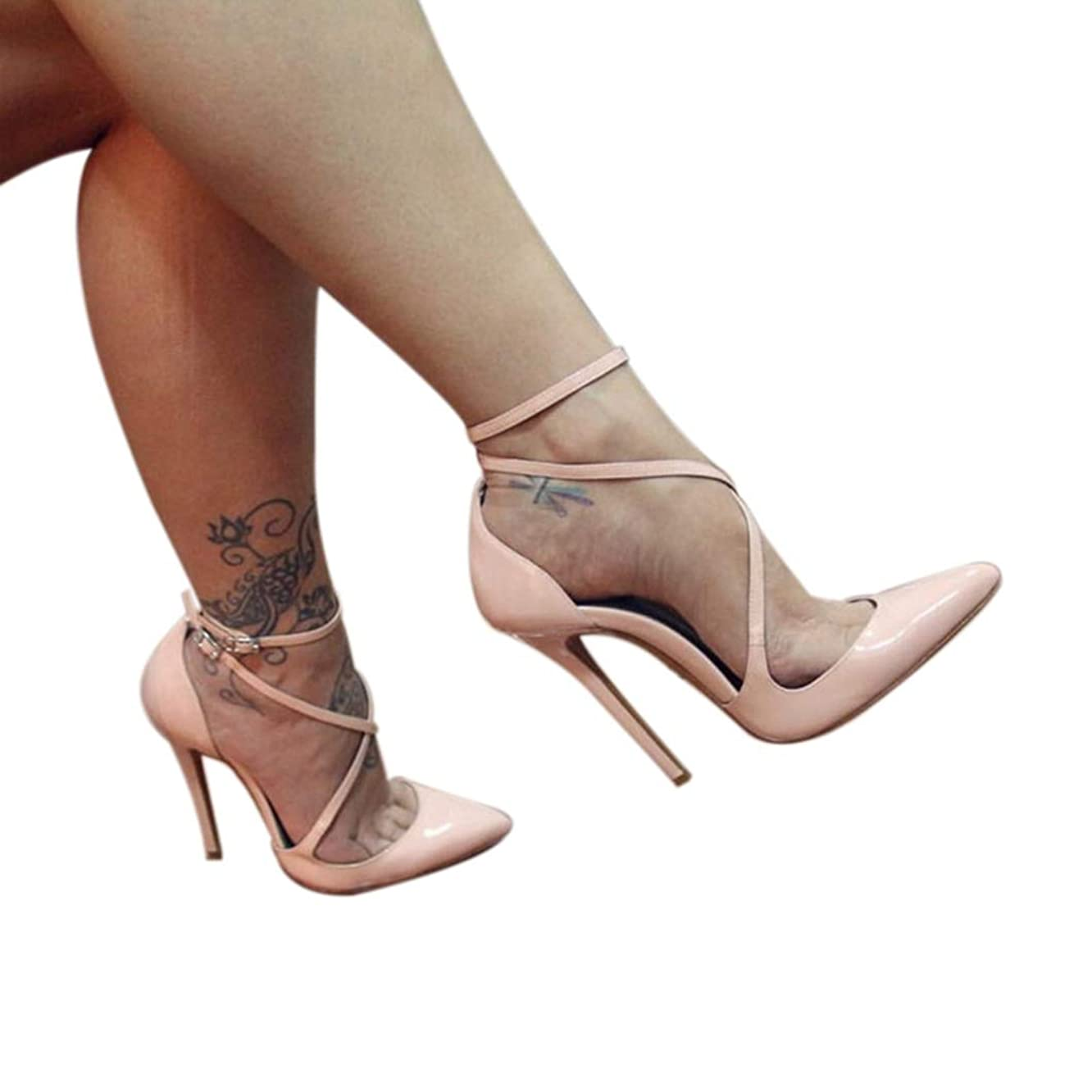 ODOKAY Summer Sandal for Women Super High Strappy Pointed Open Toe Ankle Strap Stiletto Ladies Sandals