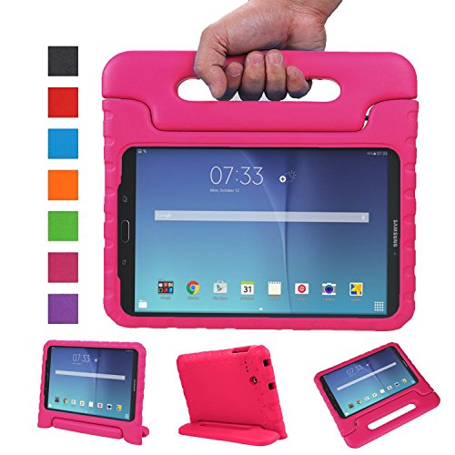 NEWSTYLE Tab E 8.0 Kids Case - Shockproof Light Weight Protection Handle Stand Kids Case for Samsung Galaxy Tab E 8.0 Inch 2015 Tablet (Tab E 8.0, Rose)