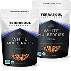 USDA Certified Organic, Non-GMO, raw, gluten free, and vegan friendly. We only offer the freshest, most delicious premium mulberries with no added sugar. While many dried fruits contain 30 to 40 grams of sugar, dried mulberries contain less than half...