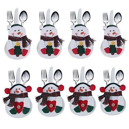 DegGod 8Pcs Christmas Snowman Tableware Holder Suit Silverware Holder Pockets Set Knife and Fork Bags Christmas Party Decoration (Christmas Snowman)