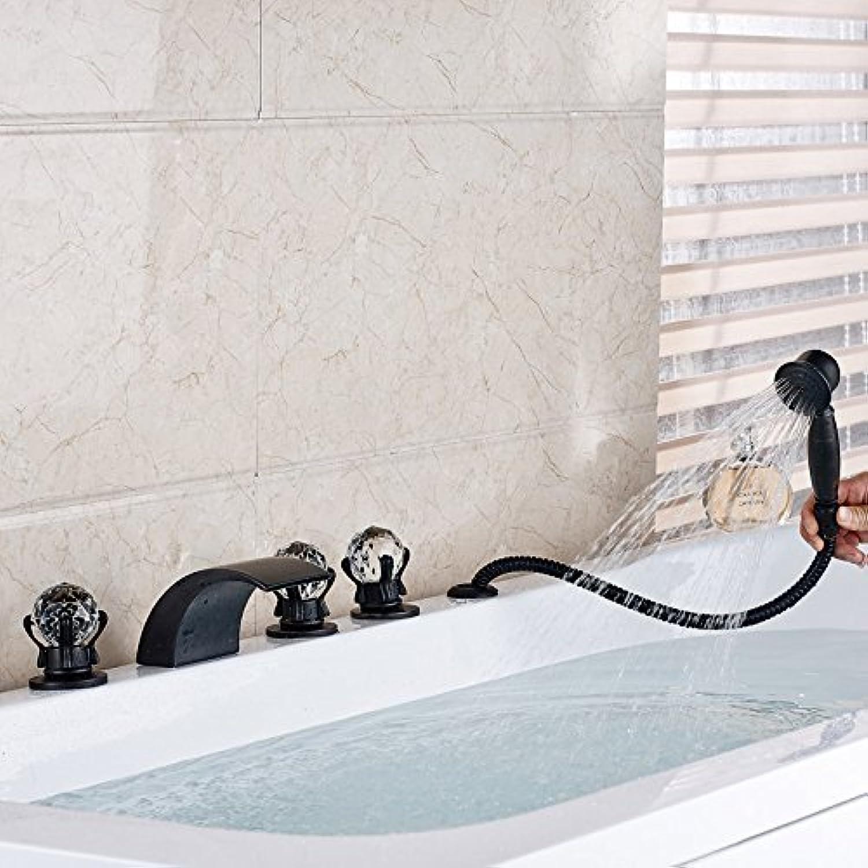 L eingerieben Bronze Deck montiert Wasserfall Badewanne Armatur verbreitete Whirlpool Küchenarmatur mit Handdusche