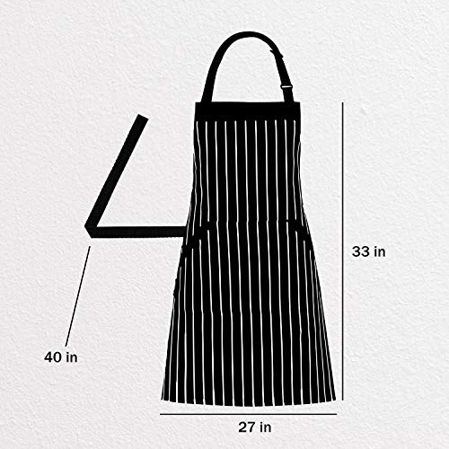 Adjustable Bib Apron with Pockets - Extra Long Ties, Commercial Grade, Unisex - Black/White Pinstripe (33 x 27 Inches) - Homwe