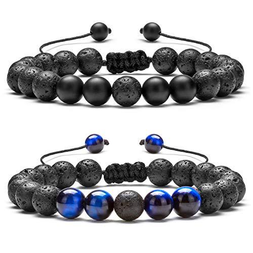 Hamoery Men Women 8mm Lava Rock Aromatherapy Anxiety Essential Oil Diffuser Bracelet Braided Rope Natural Stone Yoga Beads Bracelet Bangle-21017 (Set 5)