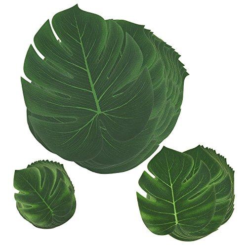 Comius [45 Stück] Tropische Blätter, Dschungel Deko Palmenblätter Dschungel Strand Thema Party Hochzeit Dekorationen Tischdekoration