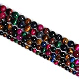 Excellent Red Yellow Gold Blue Green Rose Multi Tiger Eye Stone Beads Natural Stone Loose Beads for Jewelry Making 6MM 8MM 10MM 12MM by Ruilong (6MM, Multi)