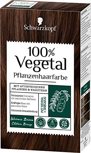 SCHWARZKOPF 100% VEGETAL Coloration Warmes Braun Stufe 3, 3er Pack (3 x 80 ml)