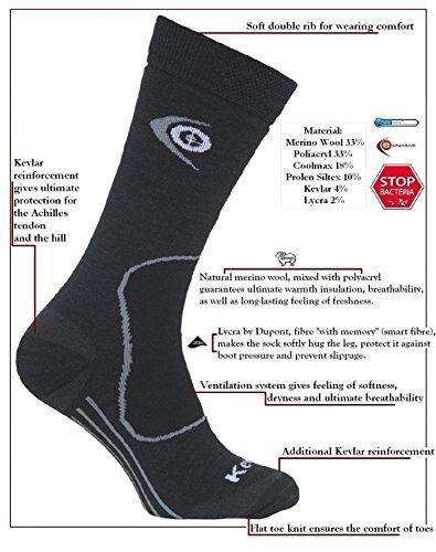 eXPANSIVE TREKKING PROTECT SOCKS HIKING Kevlar Merino Wool Coolmax DARK GREY 039/02 size UK 9-12 (EUR 43-46) by eXPANSIVE