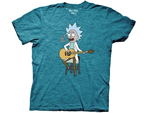 Ripple Junction Rick and Morty Let Me Out Tiny Rick Adult T-Shirt Small Black Heather Cyan
