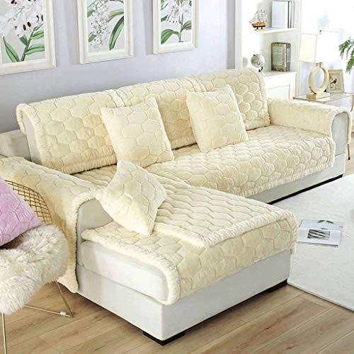 HUANXA Protector de muebles de piel sintética en forma de L, funda de sofá de felpa, funda antideslizante para sofá de 1 2 3 fundas de cojín, 1 pieza blanca de 70 x 70 cm