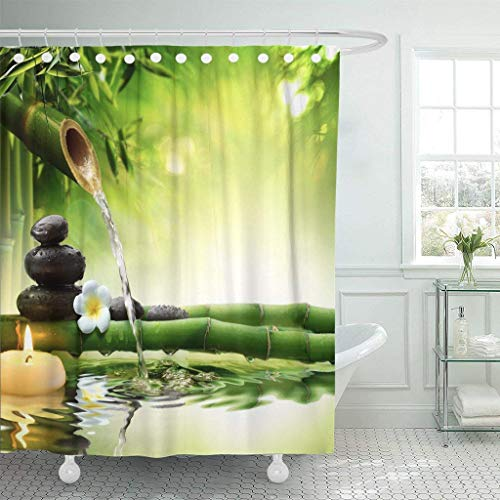 Abaysto Green Bamboo Spa Stones in Garden with Flow Water Zen Fountain Flower Forest Beauty Japanese Meditation Polyester Fabric Shower Curtain Sets with Hooks Waterproof Mildew Bathroom Decor
