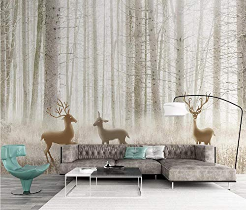 SHANGZHIQIN 3D Wallpaper Walls Modern Minimalist Abstract, Modernes Traumwaldelch-Dschungelgras