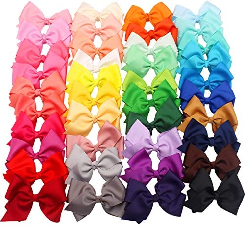 JOYOYO 40 Colors 4 Hair Bows Clips Girls Pigtail Bows Alligator Clips for Baby Girls Fine Hair product image