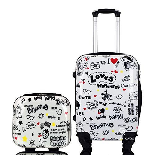 ABS Trolley Maleta 50 cm - Equipaje de mano super ligera con 4 ruedas con película protectora que se quita - Estupendo Para Vuelos Como Ryanair y EasyJet - Fantasía Loves Happiness