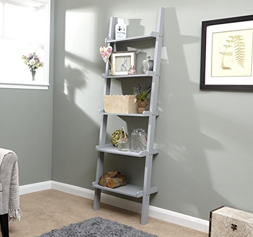 Home Source - 5 Shelf Ladder Bookcase Grey Decorative Ornament Stand Modern Wooden