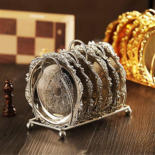 Coaster 6pc Classical Golden Metal Coaster Continental Vintage Zinc Alloy Plated Gold Plated Mat Protect Your Furniture from Stains (Color : Silver, Size : One Size)
