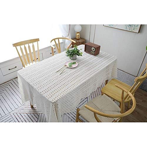 Manteles Mantel de Cocina Prácticas Jardín de algodón Crochet Tejida Hueca Mantel Mantel de Piano puntales de Tiro Toalla Mantel (Color : Beige, Size : 150 * 250cm)