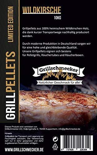 Grillschmecker Grillpellets Wildkirsche - Holzpellets für Grill, Pelletofen & Smoker - Sonderedition Wildkirsche 10 kg