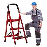 JXING Escalera Plegable de 3 a 5 peldaños, escalerillas de Acero livianas de Home Depot, Capacidad de 200 kg con Agarre Manual, Antideslizante y Pedal Ancho