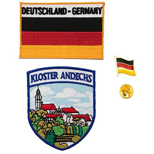 A-ONE Kloster Andechs Aufnäher + Deutsche Flagge Hot Leder-Patch + Deutsch Pin zum Aufbügeln bestickt mit Heißsiegel-Rückseite, Länderflaggen-Abzeichen, Wahrzeichen Souvenir, 3 Stück