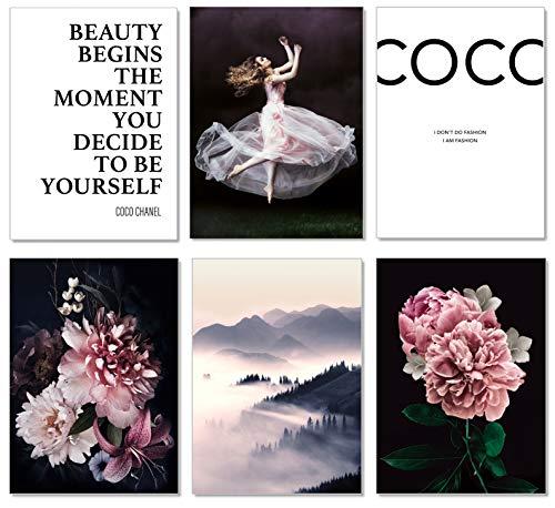 artpin® 6er Poster Set Wohnzimmer - Bilder Deko Schlafzimmer - Stilvolle Wandbilder A4 ohne Bilderrahmen - Design Coco W1