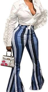 45d10aed521 Allumk Women s Striped High Waist Wide Leg Long Palazzo Bell Bottom Yoga  Pants
