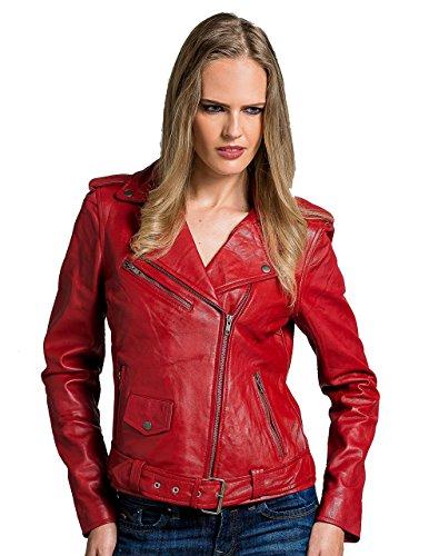 Urban Leather Perfecto Retro Damen Lederjacke Rot Lamm-Nappa, Red, Größe L - 42