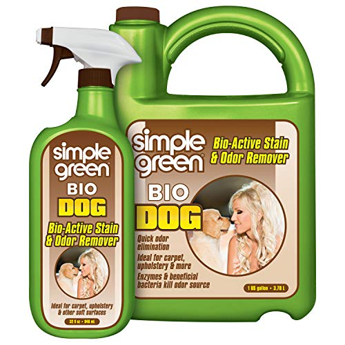 Simple Green Bio Dog Active Stain & Odor Remover - Enzyme Cleaner & Stain Remover for Carpet, Rugs & Fabric – eliminates Urine Odor (32 oz Spray & 1 gal Refill)