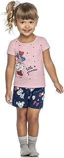 Pijama Curto Infantil Princesa 3 Peças Brilha No Escuro