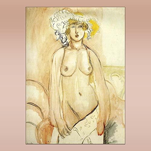 COLOROPA Cuadros Pintados a Mano sobre Lienzo Matisse Desnudo Pintura al Óleo 45X60 cm Enrollada - Antonieta con Emplumada Sombrero 1919